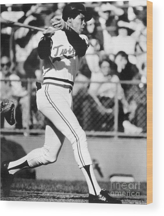 American League Baseball Wood Print featuring the photograph Rod Carew by National Baseball Hall Of Fame Library