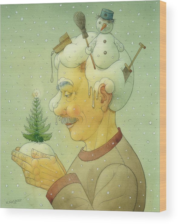 Winter Snow Figure Christmas Tree Holiday Wood Print featuring the painting Snovy Winter by Kestutis Kasparavicius