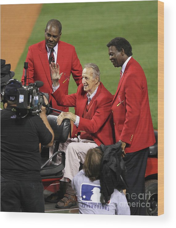 National League Baseball Wood Print featuring the photograph Stan Musial, Bob Gibson, and Lou Brock by Jamie Squire
