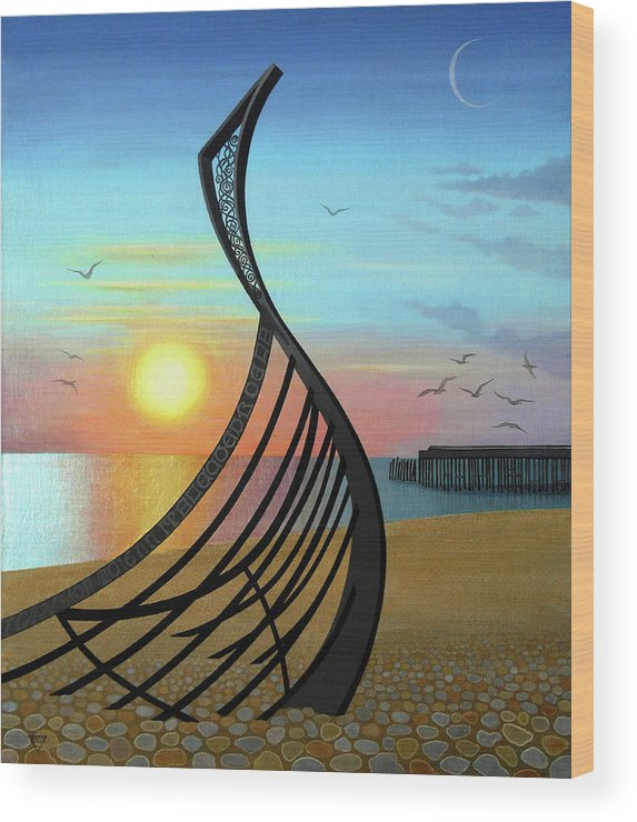 Sunset Wood Print featuring the painting Winter Sunset Over Leigh Dyer's Boat by Jennifer Baird