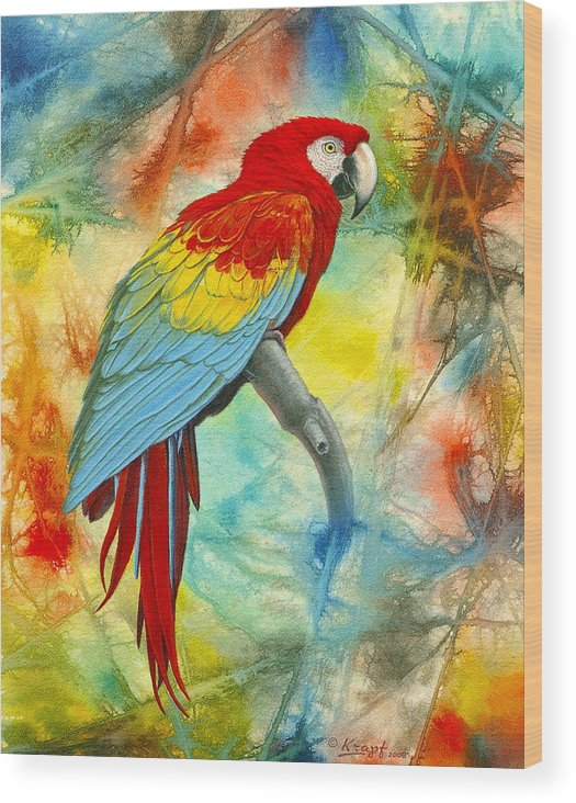 Wildlife Wood Print featuring the painting Scarlet Macaw In Abstract by Paul Krapf