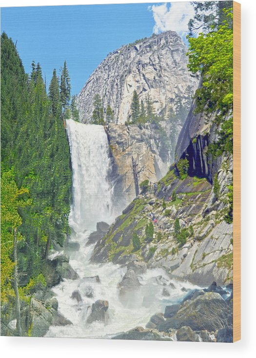 Vernal Fall Wood Print featuring the photograph The Mist Trail At Vernal Fall by Steven Barrows