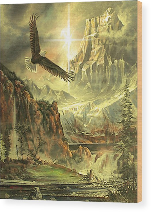 Landscape Wood Print featuring the painting Work Of Time by Larry Kaiser