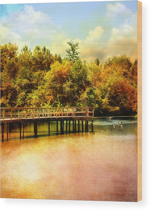 Autumn Wood Print featuring the photograph Bridge At Cypress Park by Jai Johnson