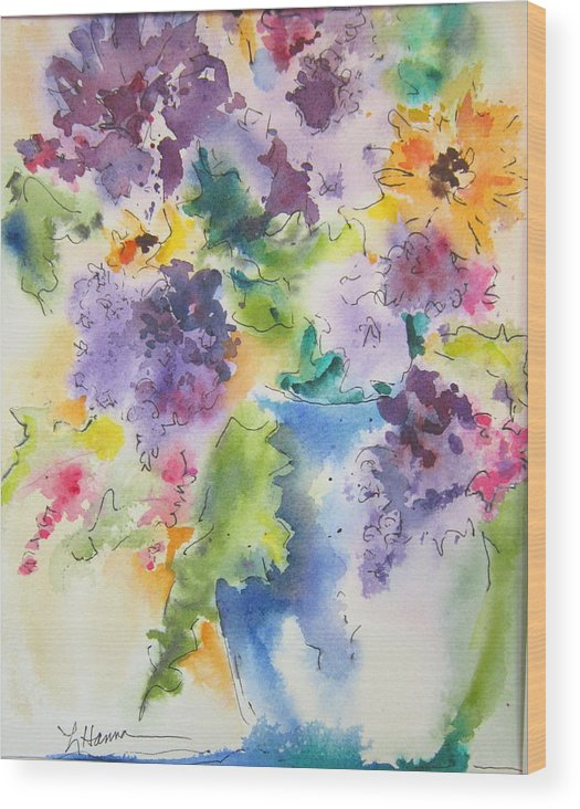 Floral Wood Print featuring the painting It Might As Well Be Spring by Linda Hanna