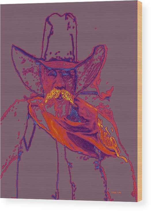 Cowboys Outlaws Lawmen Texas New Mexico Southwest Landscapes Giclee Prints Wood Print featuring the mixed media Not To Be Tested by Donn Kay