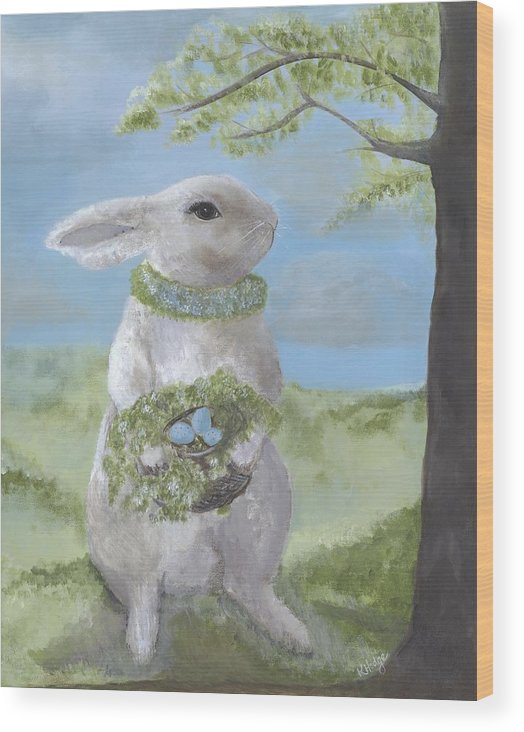 Bunny Wood Print featuring the painting Basil Bunny by Kimberly Hodge