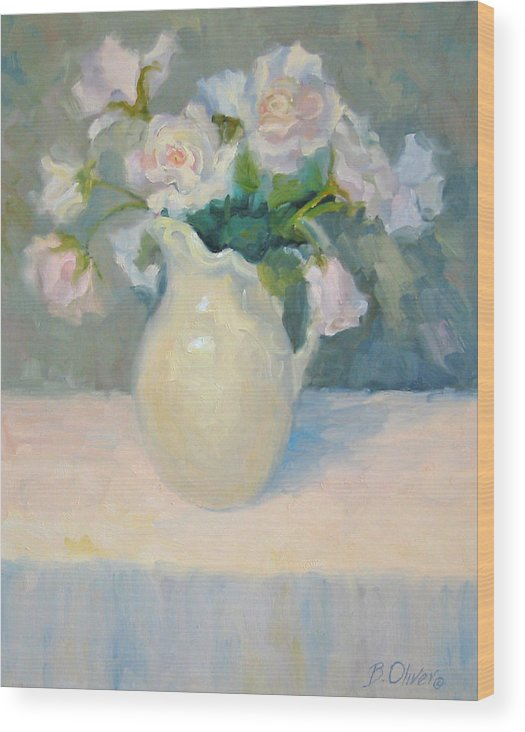 Still Life Wood Print featuring the painting Blushing Roses by Bunny Oliver