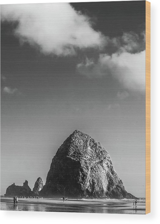 Haystack Rock Wood Print featuring the photograph Haystack by Sara Absher