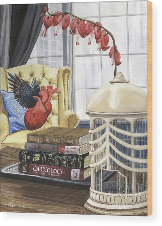Love Wood Print featuring the painting If Hearts Could Fly by Mollie Chounard
