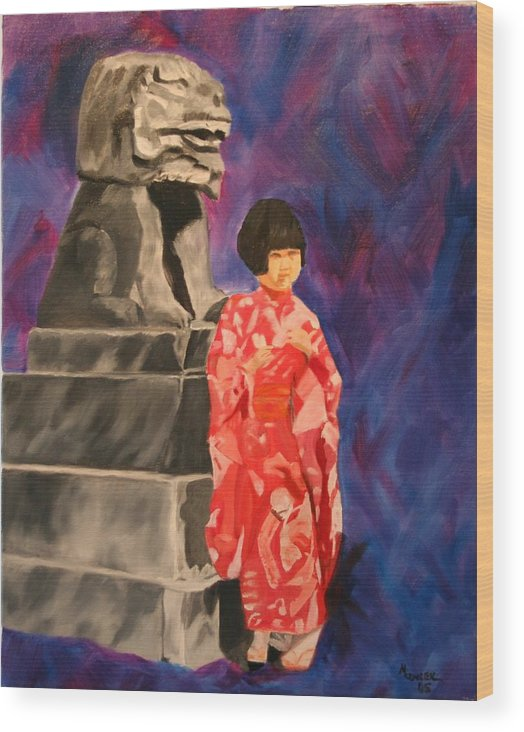Figurative Wood Print featuring the painting Japanese Girl With Chinese Lion by Marilyn Tower
