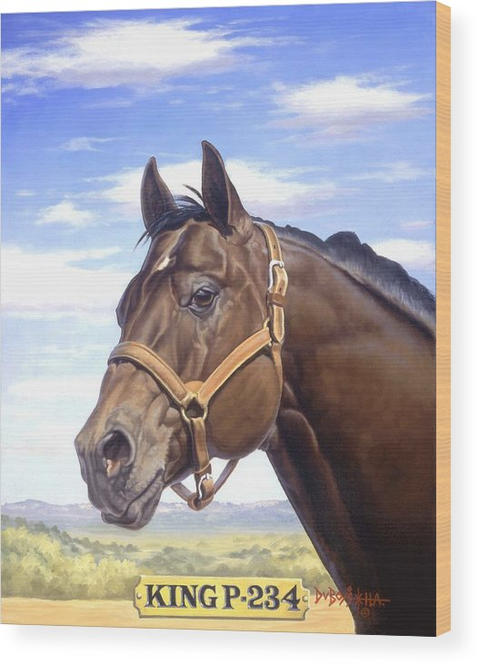 Quarter Horse Wood Print featuring the painting King P234 by Howard Dubois