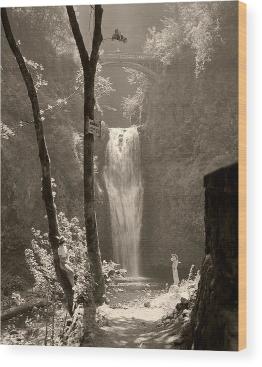 Multnomah Falls Wood Print featuring the photograph Lower Multnomah Falls by Unknown