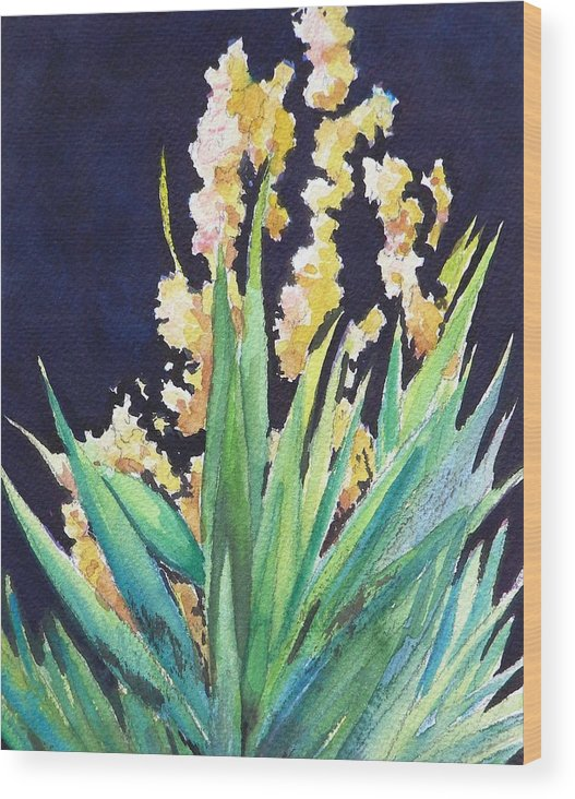 Flower Wood Print featuring the painting Night Bloom by Dorothy Nalls