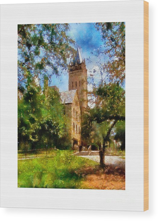 Ohio Wesleyan University Chapel Wood Print featuring the painting Ohio Wesleyan Chapel by Betsy Foster Breen