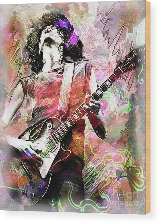 Jimmy Page Wood Print featuring the mixed media Page by Allie G