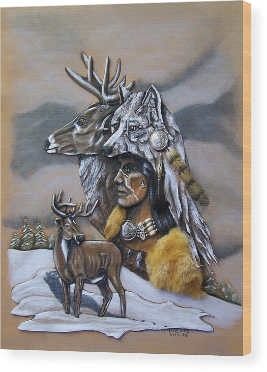 Portraits Wood Print featuring the painting Pray For The Deer. by Lilly King