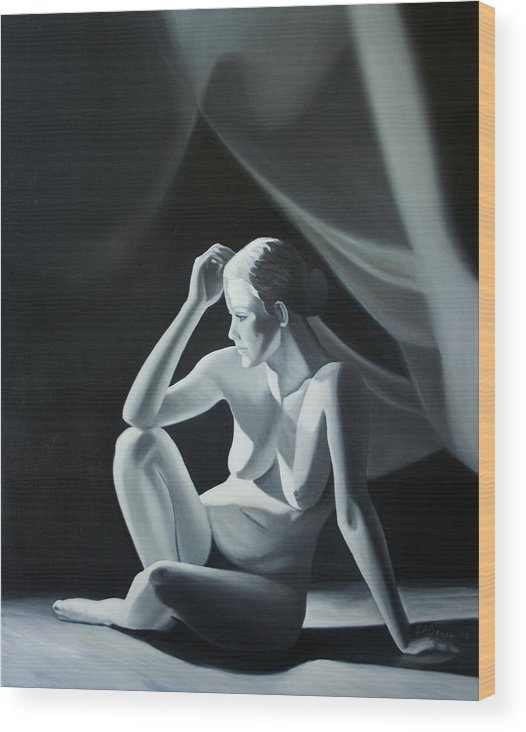 Figure Wood Print featuring the painting Reflection In Gray by Stephen Degan