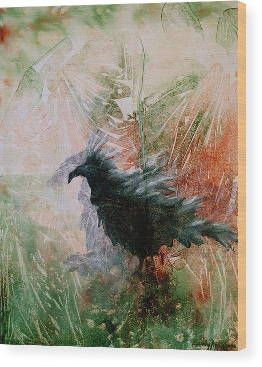 Raven Wood Print featuring the painting The Raven Sitting Lonely by Sandy Applegate
