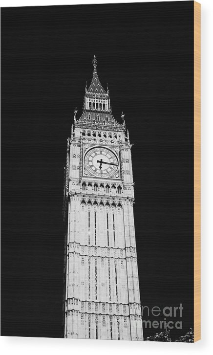 Big Ben Wood Print featuring the photograph big ben elizabeth clock tower on the houses of parliament London England UK by Joe Fox
