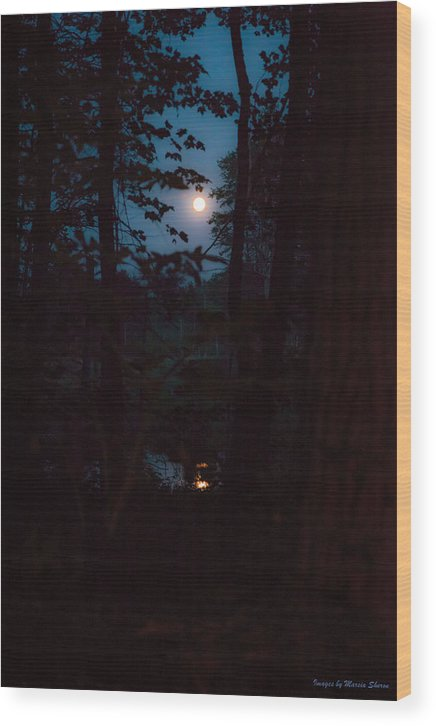 Moon Wood Print featuring the photograph July Moon by Mother Turtle Photography Images by Marsia Shuron