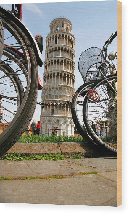 Architecture Wood Print featuring the photograph Leaning Bicycles Of Pisa by Peter Tellone