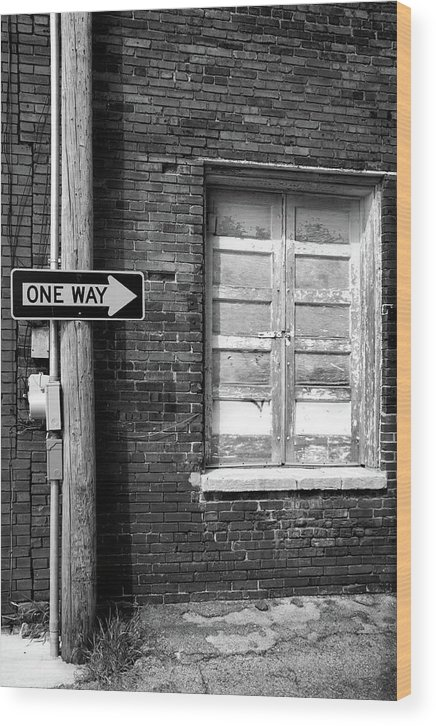 Black & White Wood Print featuring the photograph One Way by Peter Tellone