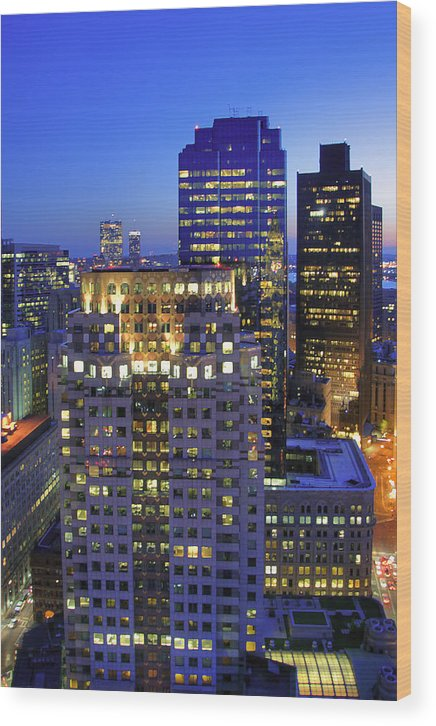 Boston Wood Print featuring the photograph Sunset Over Boston - Financial District Skyline by Joann Vitali