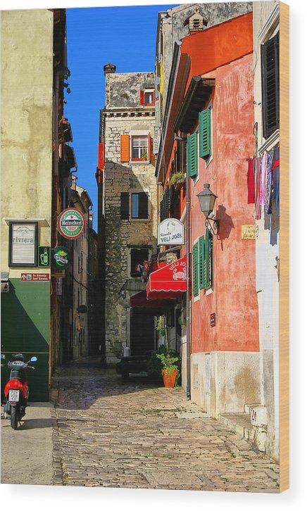 Rovinj Wood Print featuring the photograph The Narrow Streets Of Rovinj Croatia by Rob Meredith