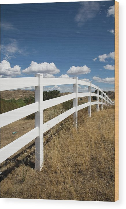 Clouds Wood Print featuring the photograph Galloping Fence by Peter Tellone