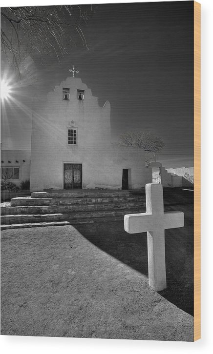 Architecture Wood Print featuring the photograph New Mexico Church by Peter Tellone