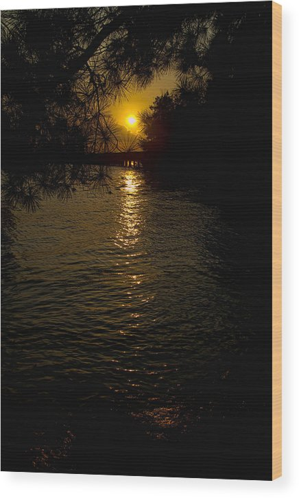 Sunset Wood Print featuring the photograph Water-sunset by Ray Keeling