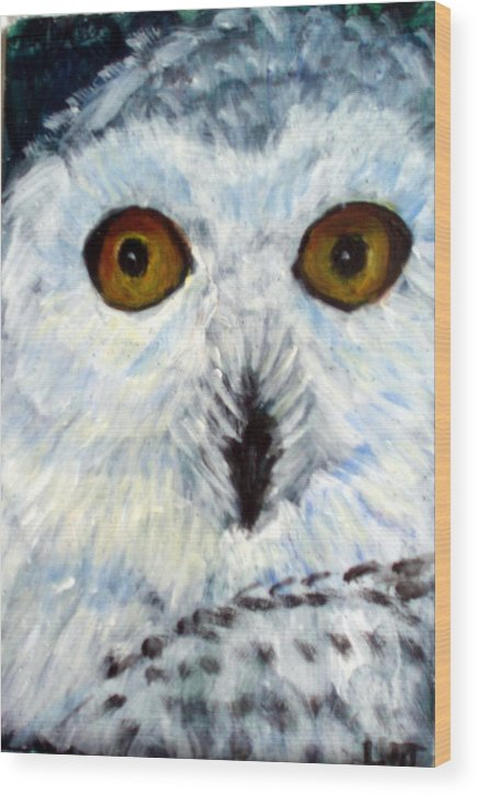 Owl Wood Print featuring the painting  Whoo Me by Lia Marsman
