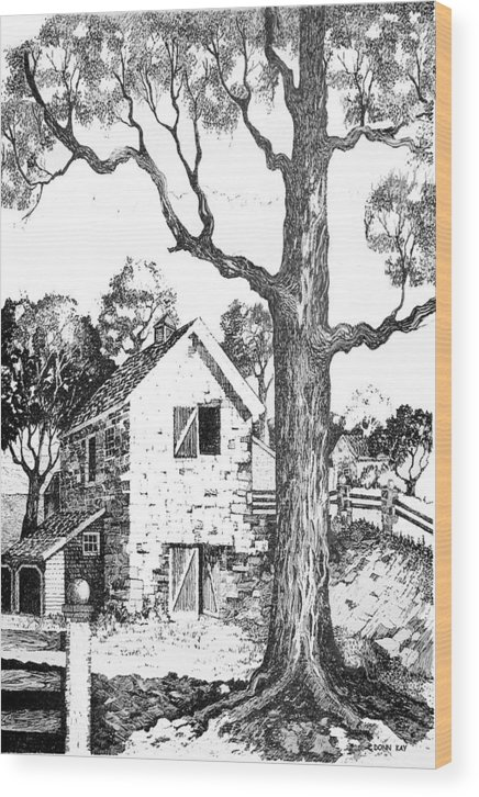 Texas Trees Barn Landscape Ink Giclee Prints Wood Print featuring the drawing Grandpas Barn by Donn Kay