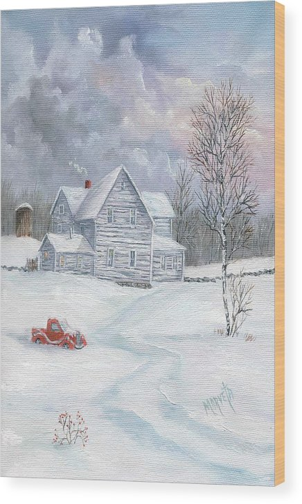 Landscape Snow Landscape Wood Print featuring the painting A Peaceful Day by Marveta Foutch