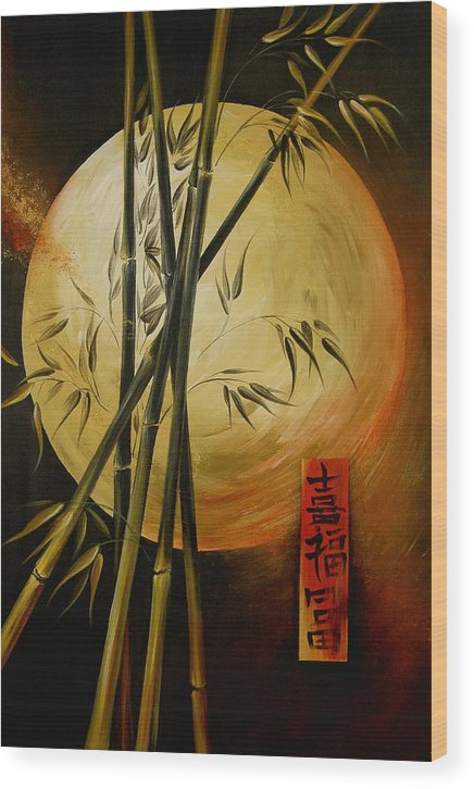 Asian Moon Bamboo Wood Print featuring the painting Autumn Moon by Dina Dargo