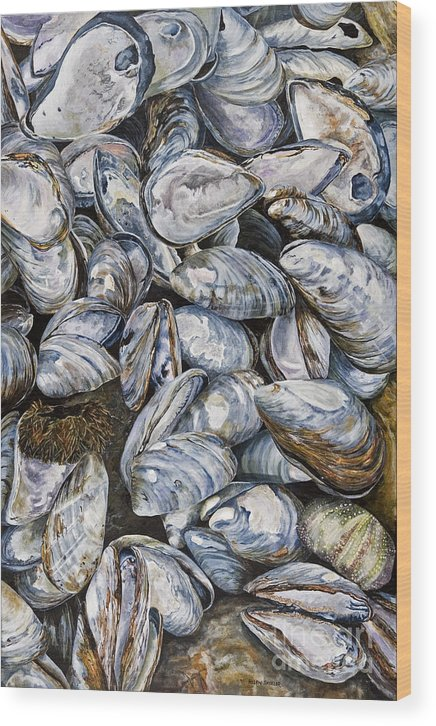 Mussel Shells Wood Print featuring the painting Bay Of Fundy Blues by Helen Shideler