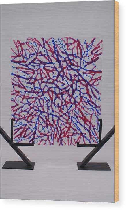 Fused Glass Red Blue Cranberry Royal Net Network Capillaries Stand Standing standing Art Wood Print featuring the glass art Capillaries by Louis Copper