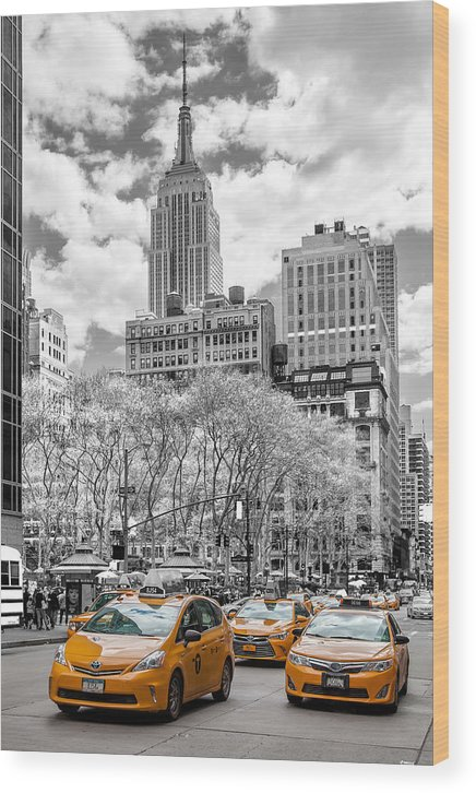Empire State Building Wood Print featuring the photograph City Of Cabs by Az Jackson