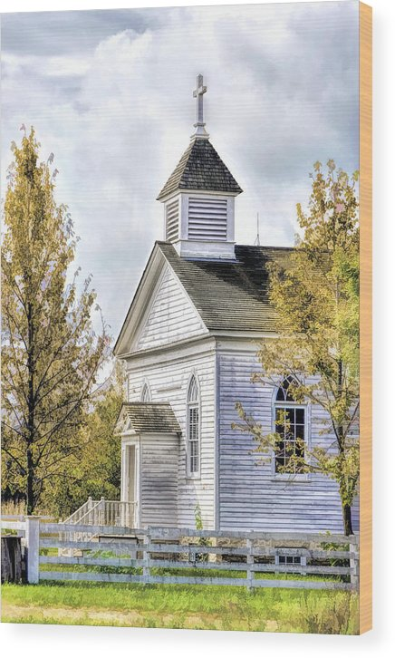 Old World Wisconsin Wood Print featuring the painting Country Church At Old World Wisconsin by Christopher Arndt