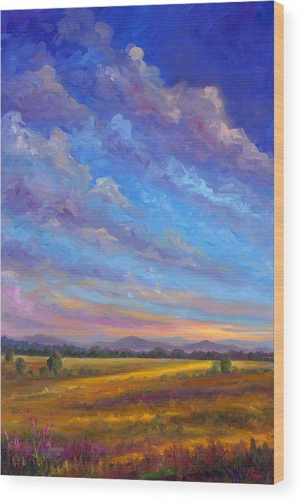 Field Wood Print featuring the painting Field Of Flowers by Jeff Pittman