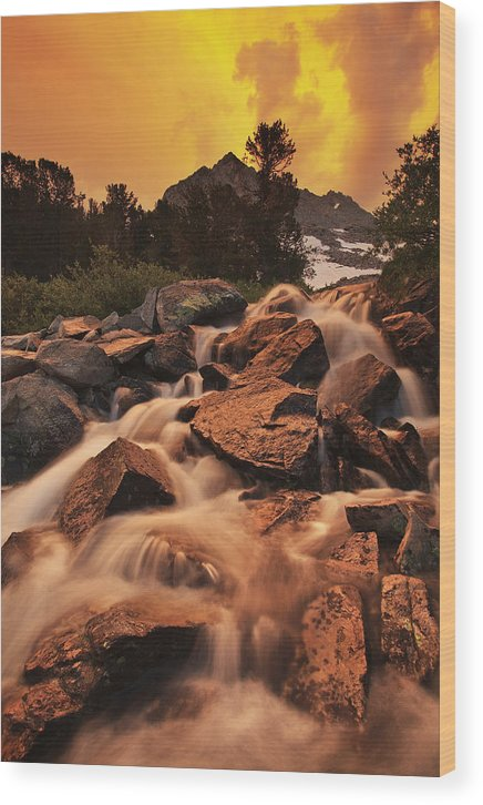 Sierra Wood Print featuring the photograph Gem Lakes Cascade Sunset by Nolan Nitschke