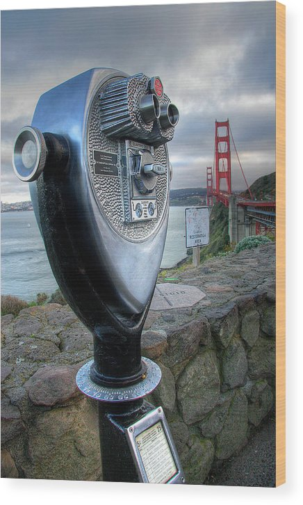California Wood Print featuring the photograph Golden Gate Binoculars by Peter Tellone