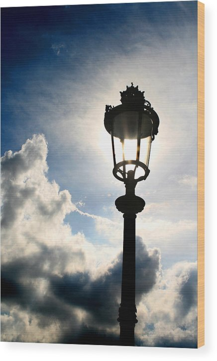 Paris Wood Print featuring the photograph Lamp Post At The Louvre by Greg Sharpe