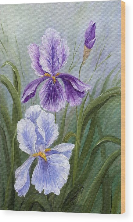 Painting Paintings Wood Print featuring the painting Rapsody Iris by Marveta Foutch
