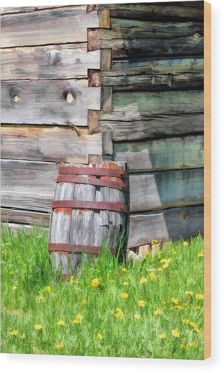 Old World Wisconsin Wood Print featuring the painting Rustic Rain Barrel At Old World Wisconsin by Christopher Arndt