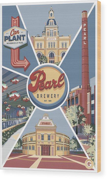 Pearl Brewery Wood Print featuring the digital art San Antonio's Pearl by Matt Hood