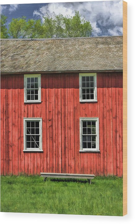 Old World Wisconsin Wood Print featuring the painting Side Of Barn And Windows At Old World Wisconsin by Christopher Arndt
