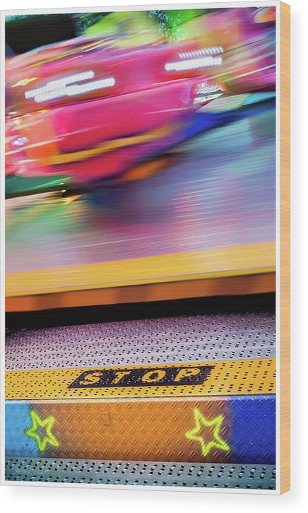 Urban Wood Print featuring the photograph Stop The Carousel by Michel Godts