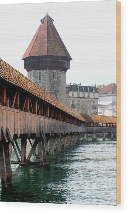 Lucerne Wood Print featuring the photograph The Kapellbrucke On The River Rueuss by Greg Sharpe